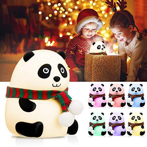 Luz de Noche Bebé, Elfeland Lámpara Infantil LED Luces de 7 Colores Control Táctil Silicona Suave USB Recargable 1.5W 1200MA Luz Nocturna Niños para Regalo Habitación de Bebé Dormitorio Estudio