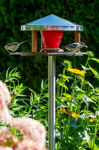 LicusDesign Casetta per uccelli in acciaio inox con supporto, resistente alle intemperie, grande, con supporto, mangiatoia per uccelli con supporto