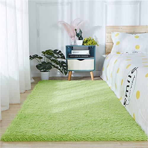 Alfombra de piel de oveja sintética supersuave y gruesa para sala de estar, dormitorio, dormitorio, decoración del hogar, alfombra de pelo de fuax (1,8 m x 2,7 m, verde frutal)