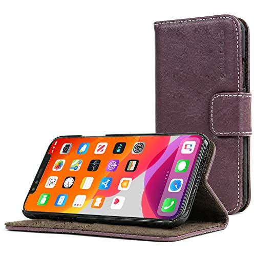 Snugg iPhone 11 Wallet Case – Leather Card Case Wallet with Handy Stand Feature – Legacy Series Flip Phone Case Cover in Amethyst Purple