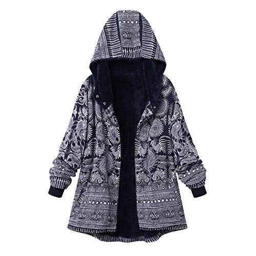 TOPKEAL Damen Jacke Mantel aus Baumwolle Nationaler Stil Gedruckt Hoodie Plus Samt Sweatjacke Langarm Sweater Sweatshirt Kapuzenpullover Pullover Coats Pulli Tops (Blau, XXL)