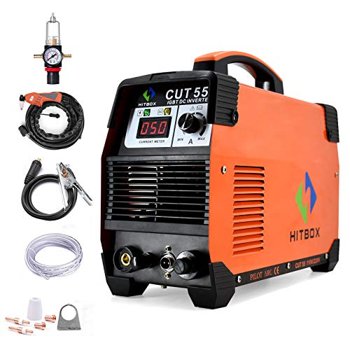 HITBOX 40Amp Plasma Cutter 110V/220V Dual Voltage Non Touch Pliot ARC Air Plasma Cutter DC Inverter Cutting Machine 60% Duty Cycle All Kinds of Steel Clean Cutting Machine IGBT Technology (CUT55)