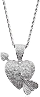 Halin Dre Hip Hop Iced Out Heart Tag Pendant Chain Necklace