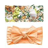 Baby Bling Bows 2 Pack - Girls Classic Knot Headbands Granny Floral and Apricot