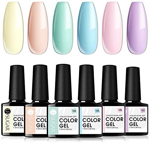 UR SUGAR 7,5ml Esmalte de Gel Semipermanente Colores del Caramelo Soak Off UV LED Esmalte de Uñas Gel Manicura Kit de Colección de 6 Botellas