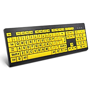 BOOGIIO Large Print Computer Keyboard Wired USB High Contrast Keyboard with Oversized Print Letters for Visually Impaired Low Vision Individuals  Yellow+Black