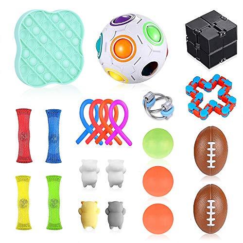 Wrei Anti Stress Spielzeug Set,22 Stück Sensory Fidget Toy Set Quetschbälle, Stressabbau, Push Pop Bubble Fidget Sensory Toy Set Spielzeug Für Kinder Erwachsene