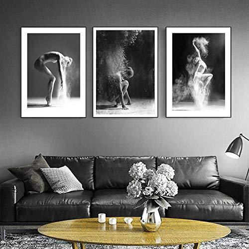 Swallow 3 stücke Schwarz und Weiß Elegante Ballett Tanz Poster Drucke Foto Nordic Staub Mädchen Wandkunst Bilder Wohnkultur Leinwand Painting-50x70cmx3 stücke kein Rahmen