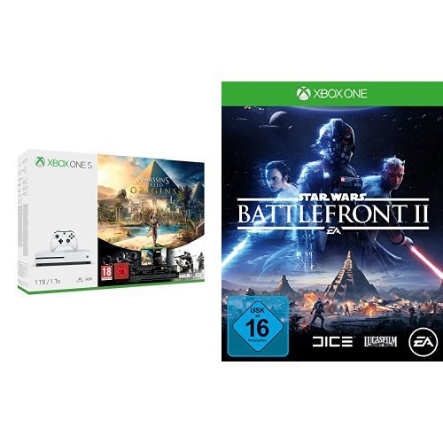 Xbox One S 1TB Konsole - Assassin's Creed Origins Bonus Bundle inkl. Tom Clancy's Rainbow Six: Siege Spiele-Download + Star Wars Battlefront II - [Xbox One]