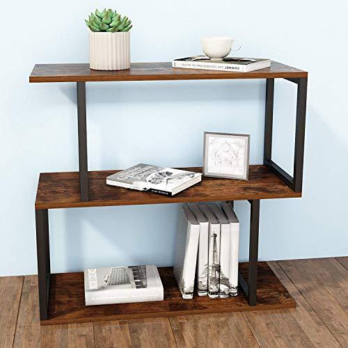 SIMPDIY Bookshelf Rack,Industrial Bookcase,2-Tier Wood-Look Steel Frame Storage Shelf, Easy-Assembly...