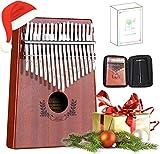 Abida Kalimba 17 Keys Thumb Piano EVA Waterproof Case Study Instruction Tuning Hammer, Solid Finger Piano Mahogany Body Portable Musical Instrument...