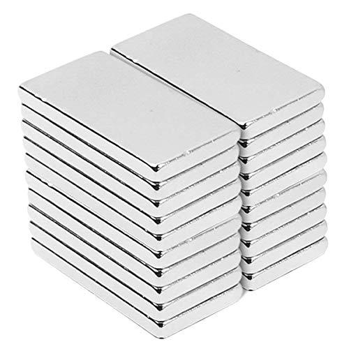 30Pcs Neodym Magnete, 20 x 10 x 2 mm Magnetics Rechteckig Starke Bar Seltene Erden Magnete N52 NdFeB Rare Earth Magnet für DIY Building Craft Office