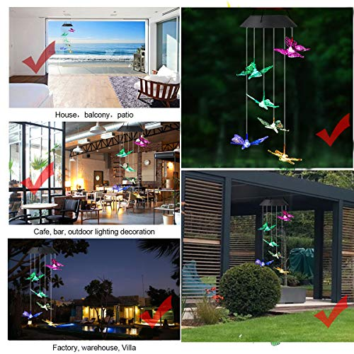 SUNJOYCO Butterfly Solar Wind Chimes, Color-Changing Outdoor Decoration Waterproof LED Memorial Wind Chime Solar Powered Colorful Light for Home Party Yard Garden