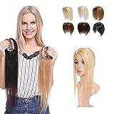 Elailite Hair Topper Capelli Veri Extension Clip Donna Human Hair Naturali Silk Lace Toupet Protesi 35g/Fascia Unica Toupee (45cm, 18# Biondo Sabbia balayage 613# Biondo Chiaro)