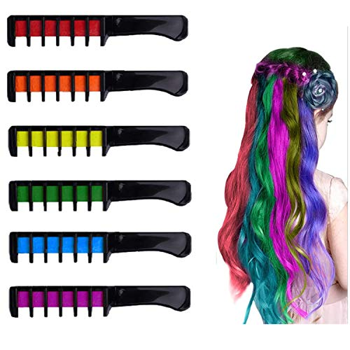 Price comparison product image Hair Chalk Comb,  Glitter Hair Chalks,  Temporary emporary Bright Hair Chalk Set,  Washable Hair Color Dye Crayon Salon Set Safe for Makeup Birthday Party Christmas Gifts for Girls Kids Teen,  6 PCS