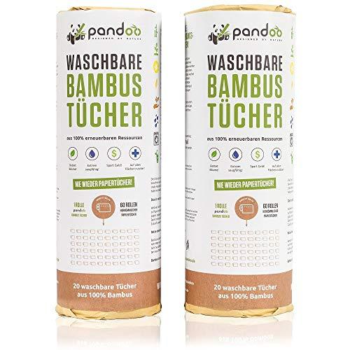 pandoo | Rouleau de papier essuie-tout lavable pour la cuisine | Produit écologique et réutilisable en fibre de bambou | 20 feuilles - Lingette plus absorbante