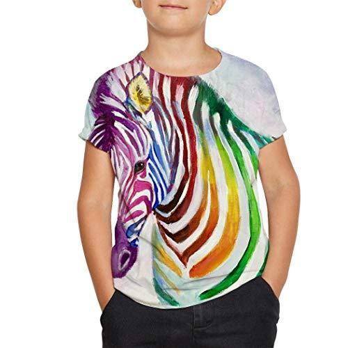 SDWERR Rainbow Zebra Painting Youth Girl Boy Short-Sleeve Teen T-Shirt