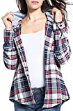 BomDeals Women's Classic Plaid Cotton Hoodie Button-up Flannel Shirts (L, Gray)
