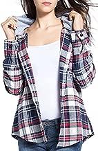 BomDeals Women's Classic Plaid Cotton Hoodie Button-up Flannel Shirts (L, Gray)