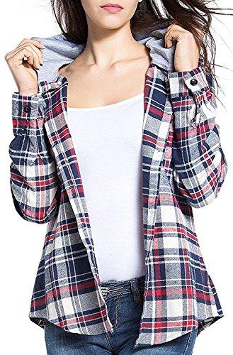 BomDeals Women's Classic Plaid Cotton Hoodie Button-up Flannel Shirts (XXL, Gray)