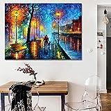 Stadt Nacht Szene Paar Haustier gehen Leinwand Ölgemälde rahmenlose Wandkunst Leinwand Hauptdekoration hängendes Bild rahmenloses Gemälde 60cmX90cm