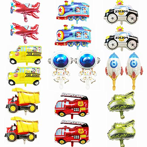"""Kiwochy 18 Stück Auto Ballons Car Luftballons Set Autoform Luftballons Auto Folienballon Folienballons Helium Ballon Kit für Cars Party Kinder Geburtstag Party Dekoration Lieferungen 16"""""""