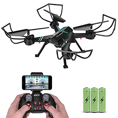JoyGeek Drone with Camera for Adults, FPV RC Quadcopter with Wifi Live Video Altitude Hover 3D VR 2.4GHz 6Axis Gyro Headless Mode One-Key Return Aircraft iPhone Android Phones APP Remote