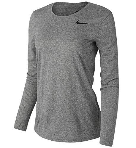 Nike Women's Legend L/S T SP20 TOP - Carbon Heather/Carbon Heather/Black - XL