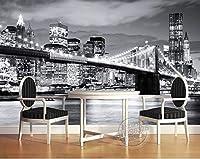 ファッションシティ写真壁紙ブルックリンブリッジヨークデザイナー壁壁画白黒部屋の装飾寝室キッズアート装飾, 400cm×280cm