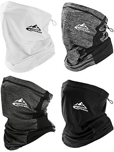 4 Pieces Summer Neck Gaiter Adjustable Face Cover Scarf Breathable Sports Headbands Windproof Headwear Bandana for Men Women (Black, White, Gray, Dark Gray)