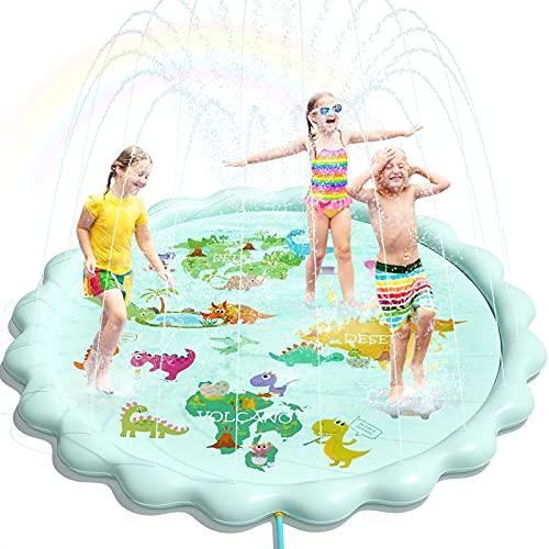 Peradix Tapis de Jet d'eau, 200cm PVC Durable Sprinkler Splash Pad, Jouets d'arrosage pour Enfants, Jouets d'eau Exterieur d'Eté pour Piscine Jardin Plage (Vert)
