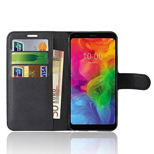LG Q7 Custodia, Anzhao Flip Cover Portafoglio con Slot per Schede Protettiva Custodia in Pelle per LG Q7 (Nero)