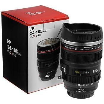 Inditradition Camera Lens Coffee Mug   Steel Insulated Travel Mug, Thermos (400 ML, Black)