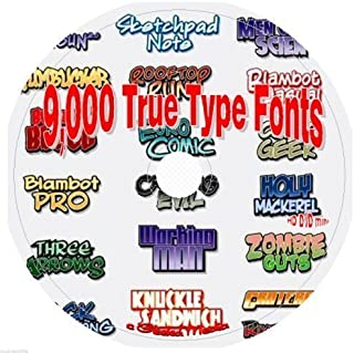 9,000 True Type Fonts on CD: Including Bonus Software