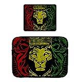Laptop & PRO Zipper Sleeve Bag & Locking Edge Mouse Pad African Flag The Lion of Judah Rasta Rastafari Jamaica Reggaeost 15' Laptop and MacBook