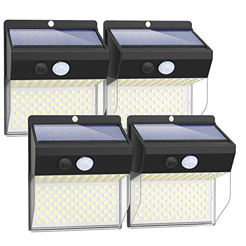 Litogo Luz Solar Exterior 172 LED【4 Pack / 3 Modos】con Sensor de Movimiento, Luces LED Solares Exteriores 270º lluminación Focos Solares Exterior Impermeable Aplique Lampara Solar para Exterior Jardin