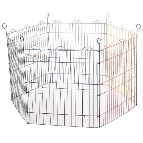 PawHut Recinto Pieghevole per Cani e Cuccioli, in Filo Metallico Colorato, per Insterni ed Esterni (120cm x 60cm)