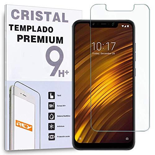 REY - Protector de Pantalla para XIAOMI POCOPHONE F1, Cristal Vidrio Templado Premium