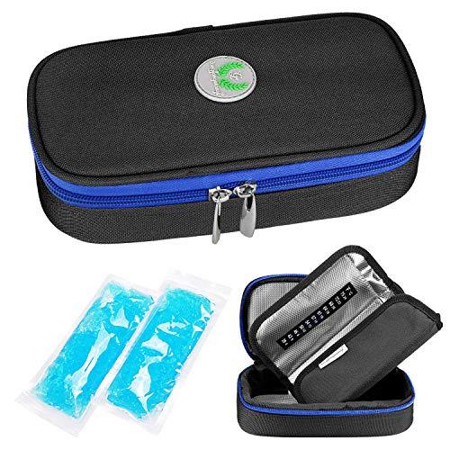 YOUSHARES Insulin kühltasche Reise Tasche - Medikamente Diabetiker Isoliert Tragbaren Kühler Tasche für Insulin Pen und Diabetes kühltasche mit 2 Kühlakkus (Schwarz)