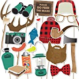Camping Lumberjack Photo Booth Props | 18 piece set by Paper and Cake | Antlers, Ax, Beard, Plaid Cap, S'mores and more | Great for Birthday Parties and Events