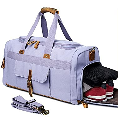 Weekender Overnight Duffel Bag with Shoes Compartment for Women Men Canvas Weekend Travel Tote Carry On Bag