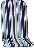 Beo Gartenstuhlauflage Gartenstuhlkissen Sitzkissen Polster für Hochlehner Gartenstühle Streifen hellblau, blau, Weiss und beige