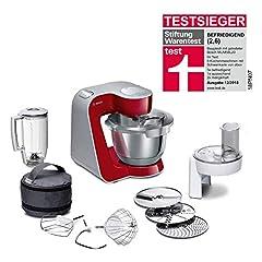 Bosch MUM5 CreationLine Machine de cuisine MUM58720, polyvalent, grand fauteuil en acier inoxydable (3,9l), coupe-courant, 3 disques, mixeur, 1000 W, rouge/argent