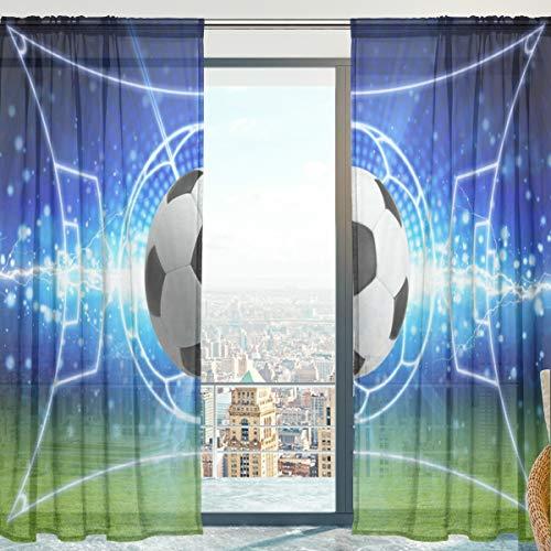 yibai Fenster Sheer Vorhänge Panels Voile Drapes Tüll Vorhänge Schöne Einrichtung Fussball Muster 140 W x 213 cm L 2 Einsätze für Wohnzimmer Schlafzimmer Room