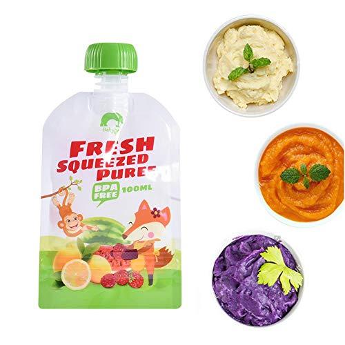 wonderday 8pcs Bolsas de comida para bébés reutilizables, 100 ml bolsa de suplemento de alimentos para bebés puré hecho en casa bolsa BPA libre para Papilla de bebé Saludable Batidos Mush de Frutas