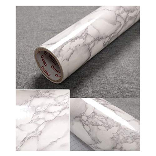 "TJLMCORP: Papel de contacto de mármol blanco, gris, negro, marrón, mármol, papel, Mármol gris., 15.7""x78.7"""