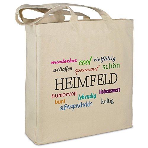 Stofftasche mit Stadt/Ort Heimfeld  - Motiv Positive Eigenschaften - Farbe beige - Stoffbeutel, Jutebeutel, Einkaufstasche, Beutel