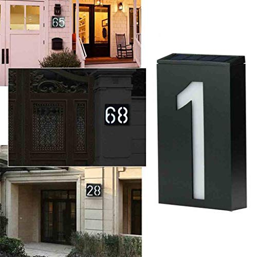 Lighted House Numbers Solar Address Sign Numbers Signs Outdoor Illuminated Door Wall Plate Light Sign for Home, Garden, Hotel Customized Number,1