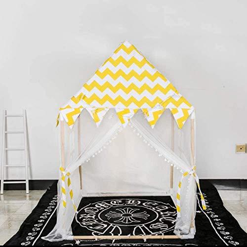 FEE-ZC - Casa de Juegos para niños de Madera con Rayas Amarillas Grandes, Lona clásica de algodón, Tienda de campaña para niños, Tienda de campaña para niños, Tienda de campaña par