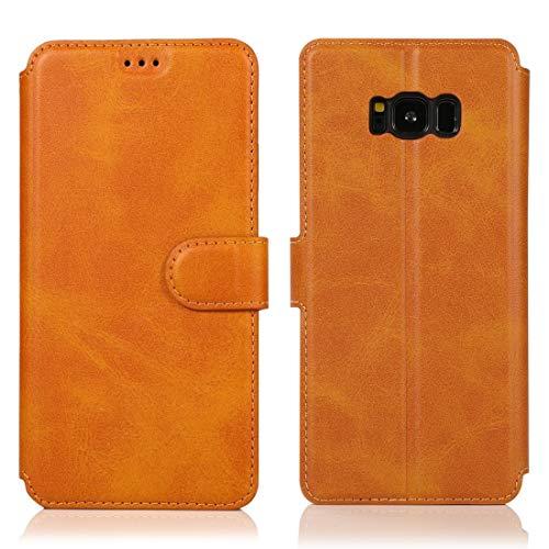 MOHAMED para Samsung Galaxy S8 Texture Textura MAGNÉTICA Hebilla MAGNÉTICA Funda de Cuero de la Tapa con Soporte y tragamonedas y Billetera y Marco de la Foto (Color : Khaki)